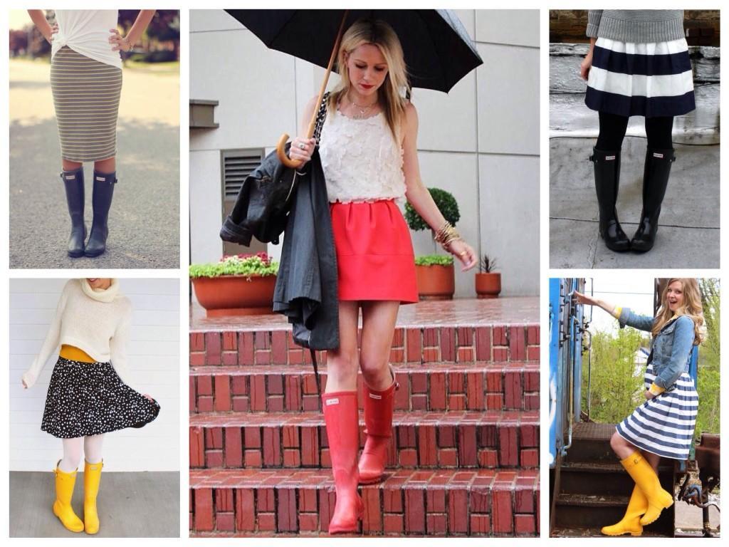 Сочетания юбки с резиновыми сапогами