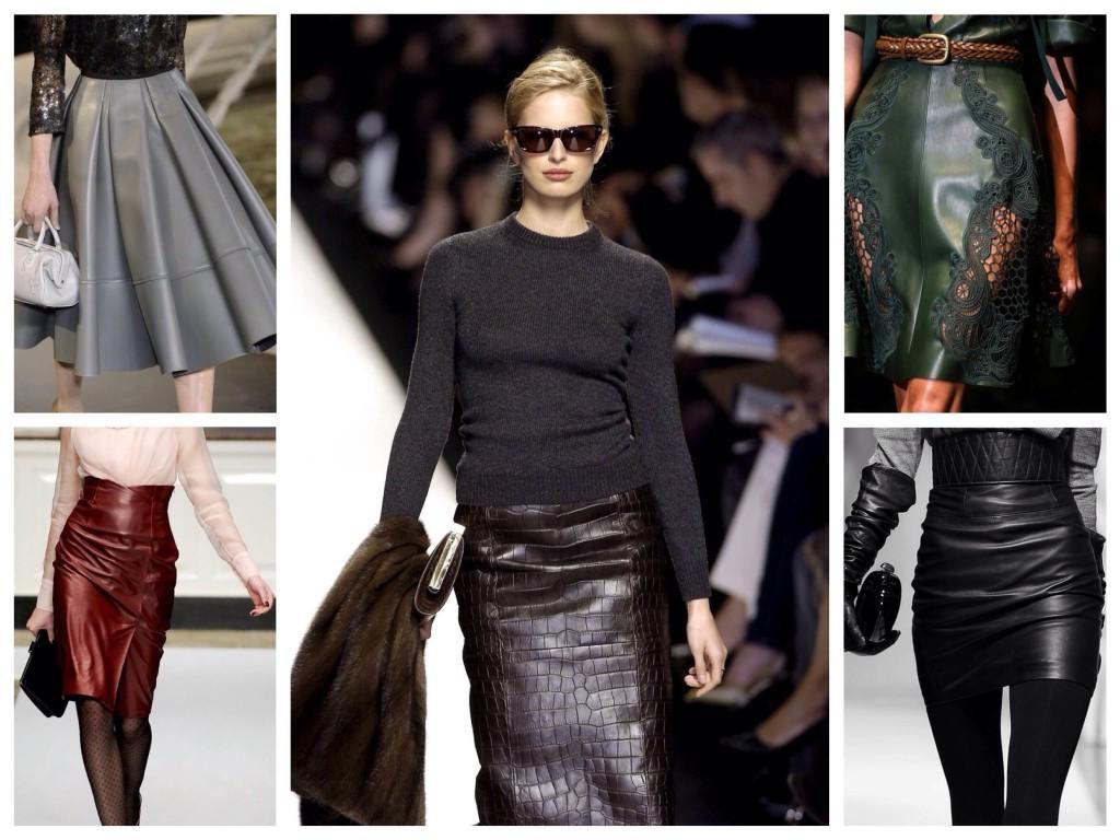 Варианты юбок из кожи на мировых подиумах