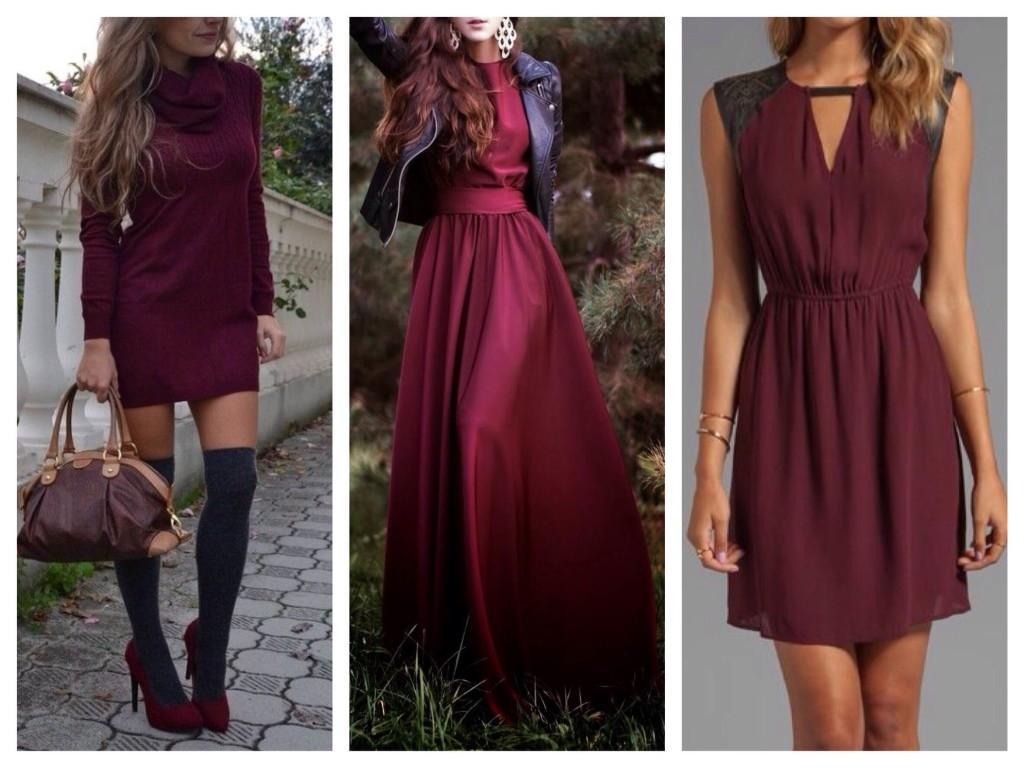 Вечернее и повседневное платье оттенков марсала