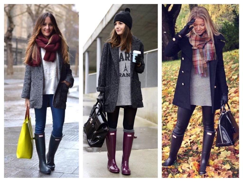 Высокие резиновые сапоги с пальто