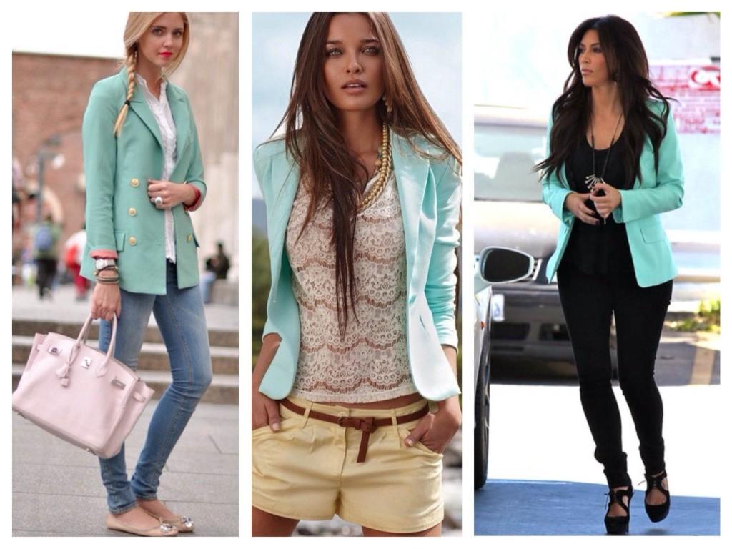 Жакеты и пиджаки цвета мяты в городских луках