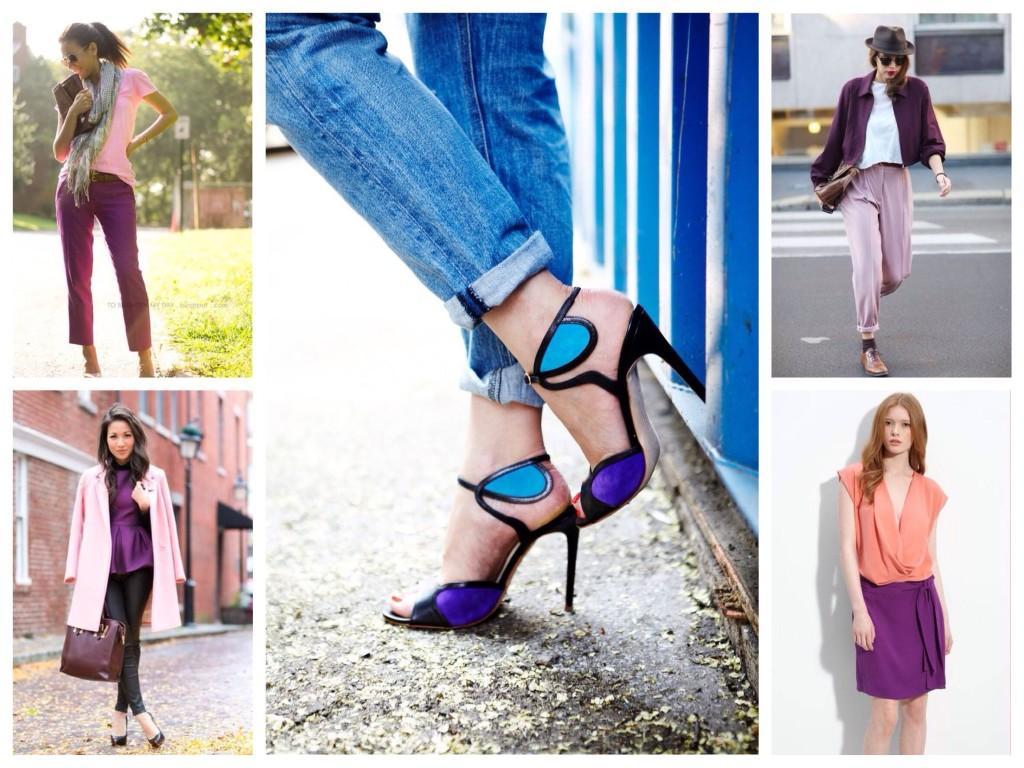 Фиолетовый цвет с розовым и голубым
