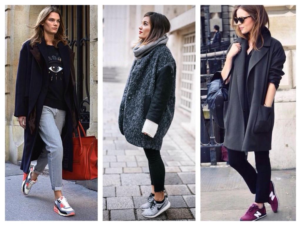 Идеи сочетания моделей пальто с кроссовками