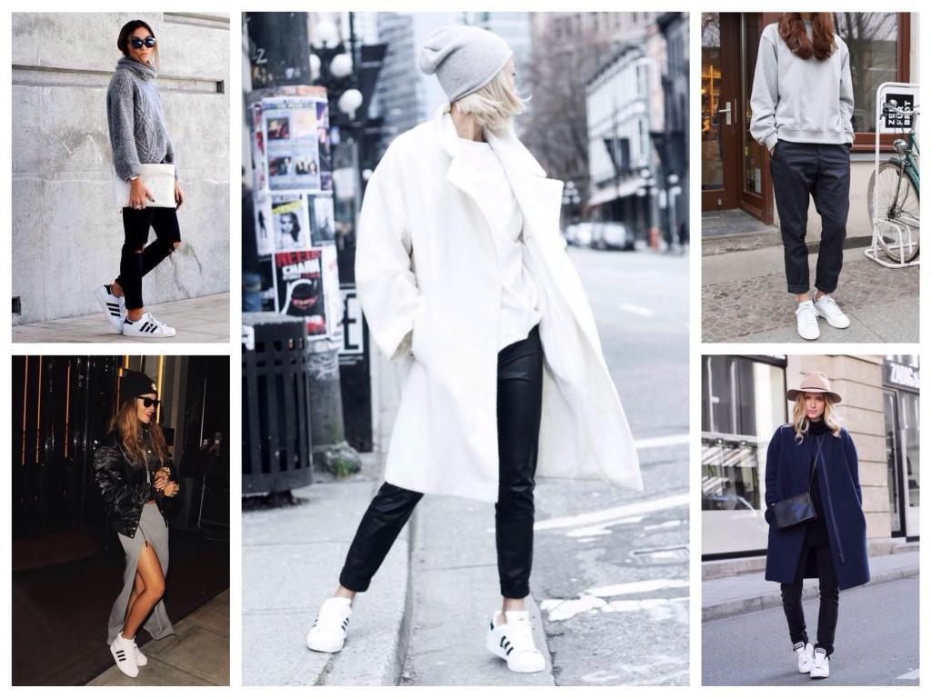 Классические белые кроссовки в городских образах
