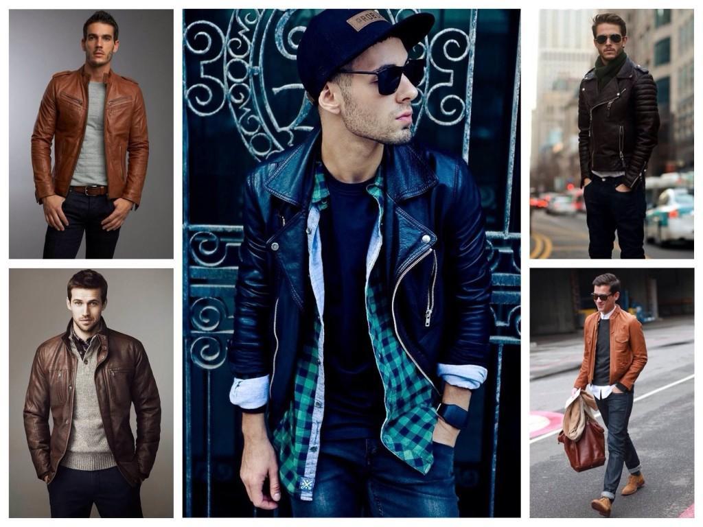 Мужские ансамбли с кожаными куртками