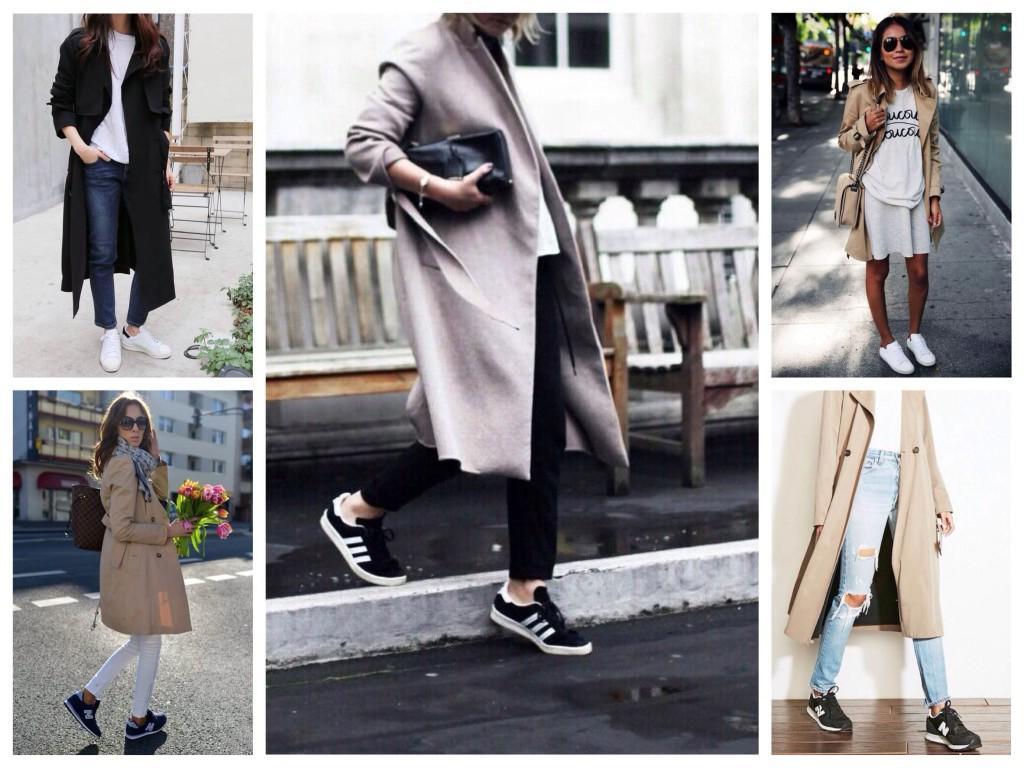 Образы кроссовок с тренчем