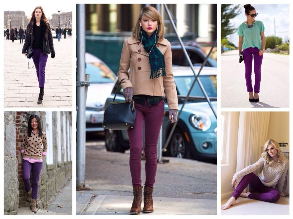 Образы с фиолетовыми брюками