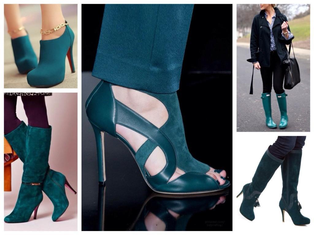 Обувь цвета морской волны