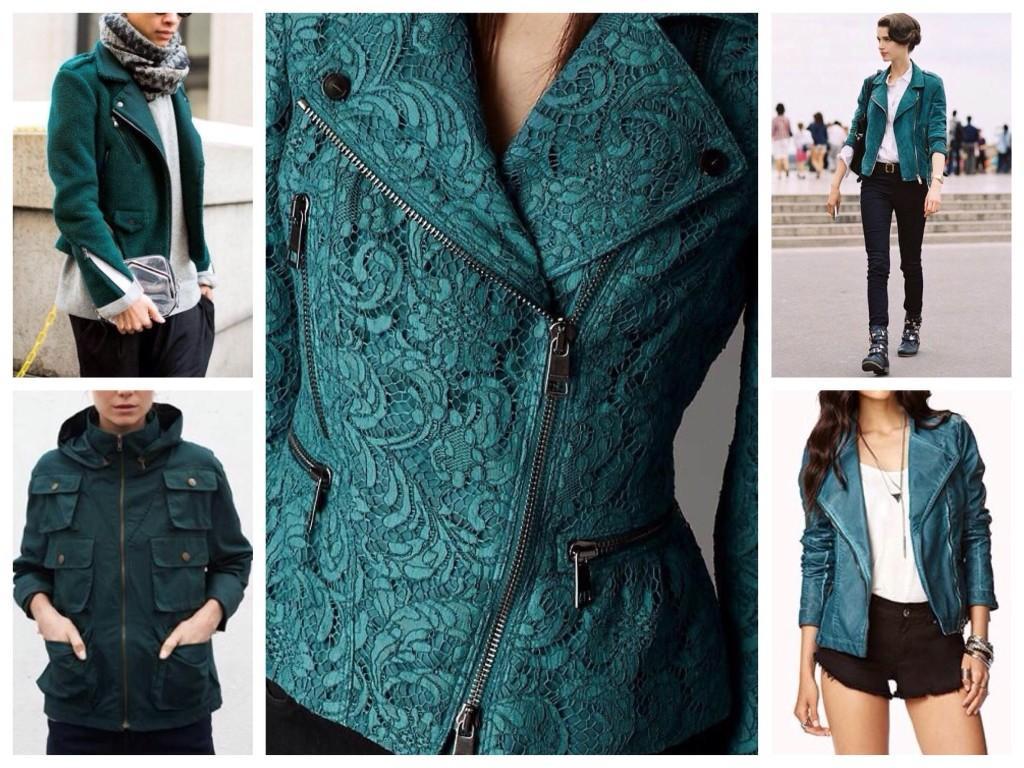 Варианты курток в цвете морской волны