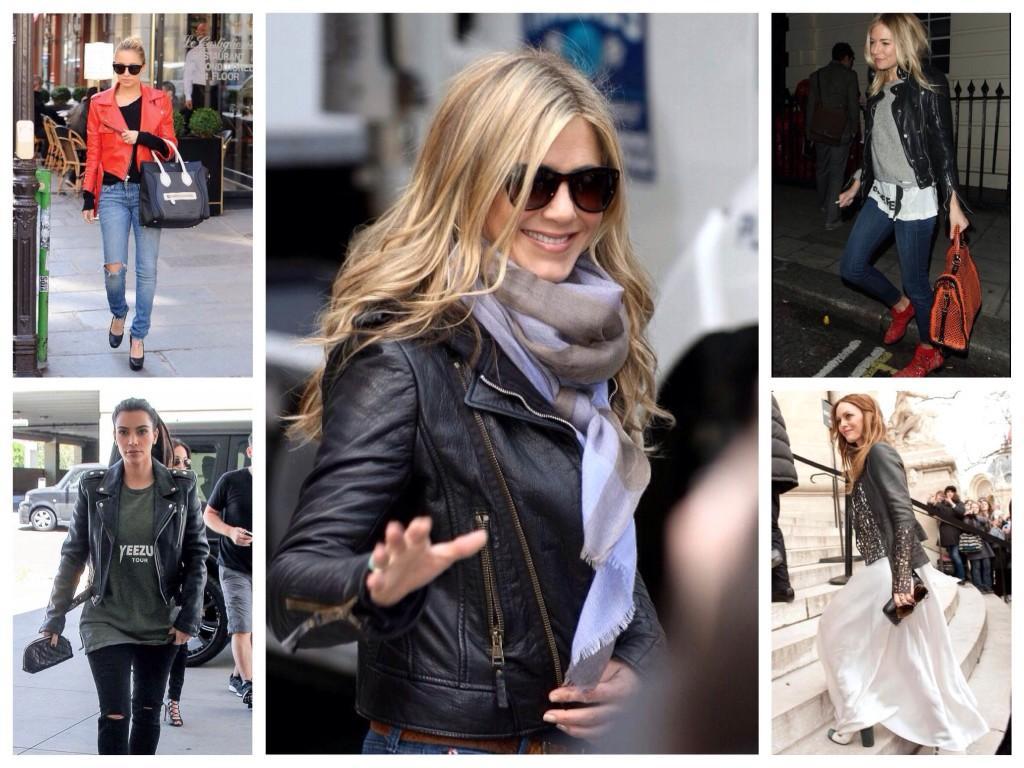 Выбор селебрити образы с кожаными куртками