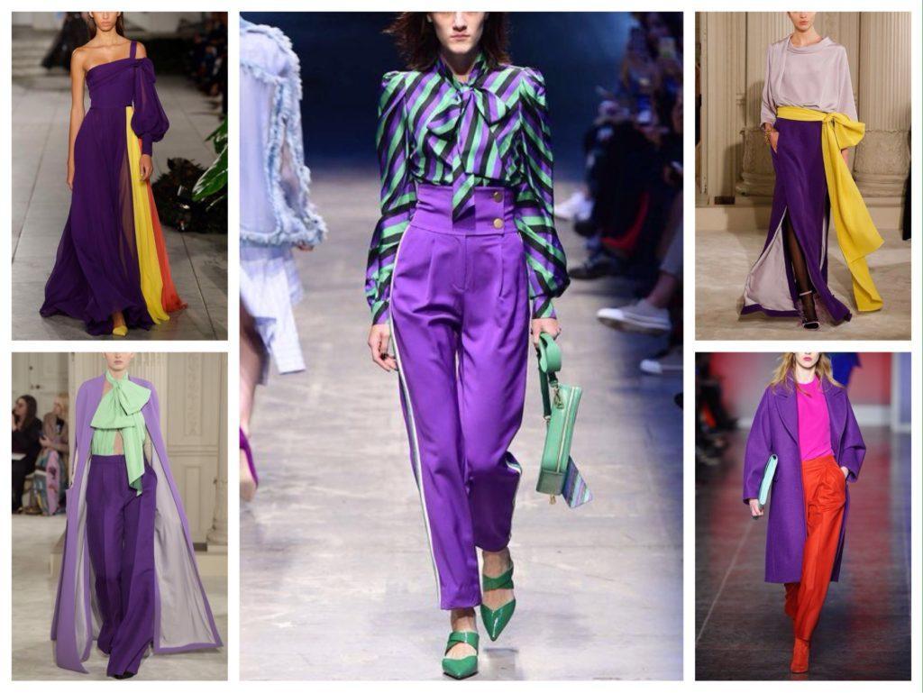 цветовые сочетания фиолетового на подиумах