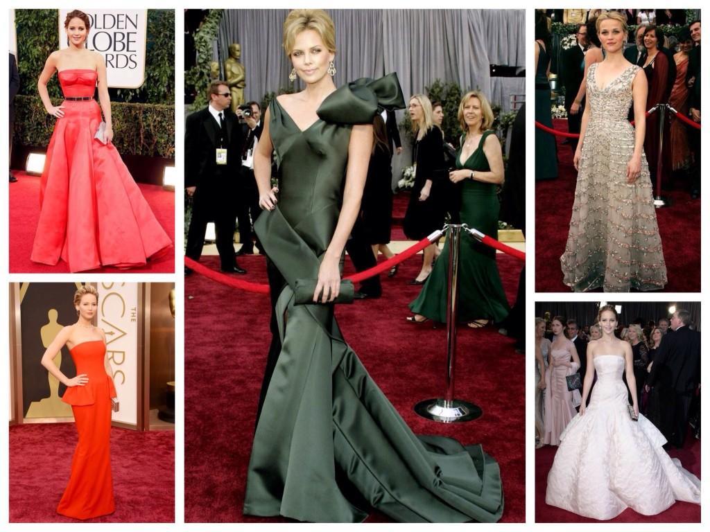 Платья дома моды Dior на ковровой дорожке