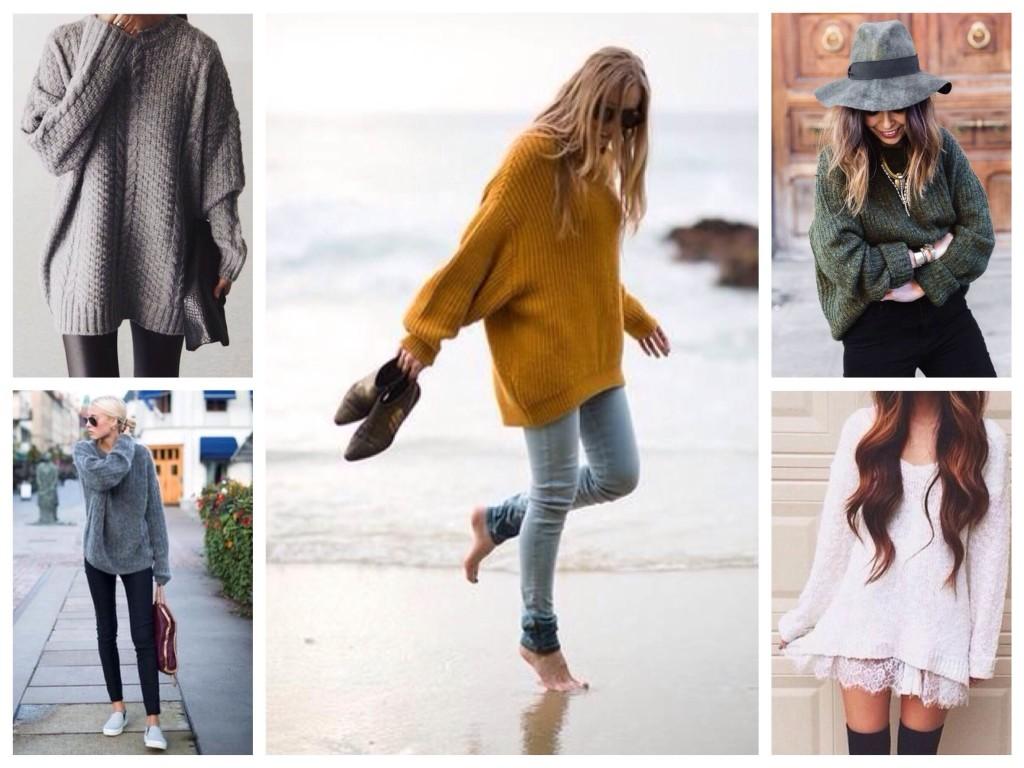 луки со свитерами