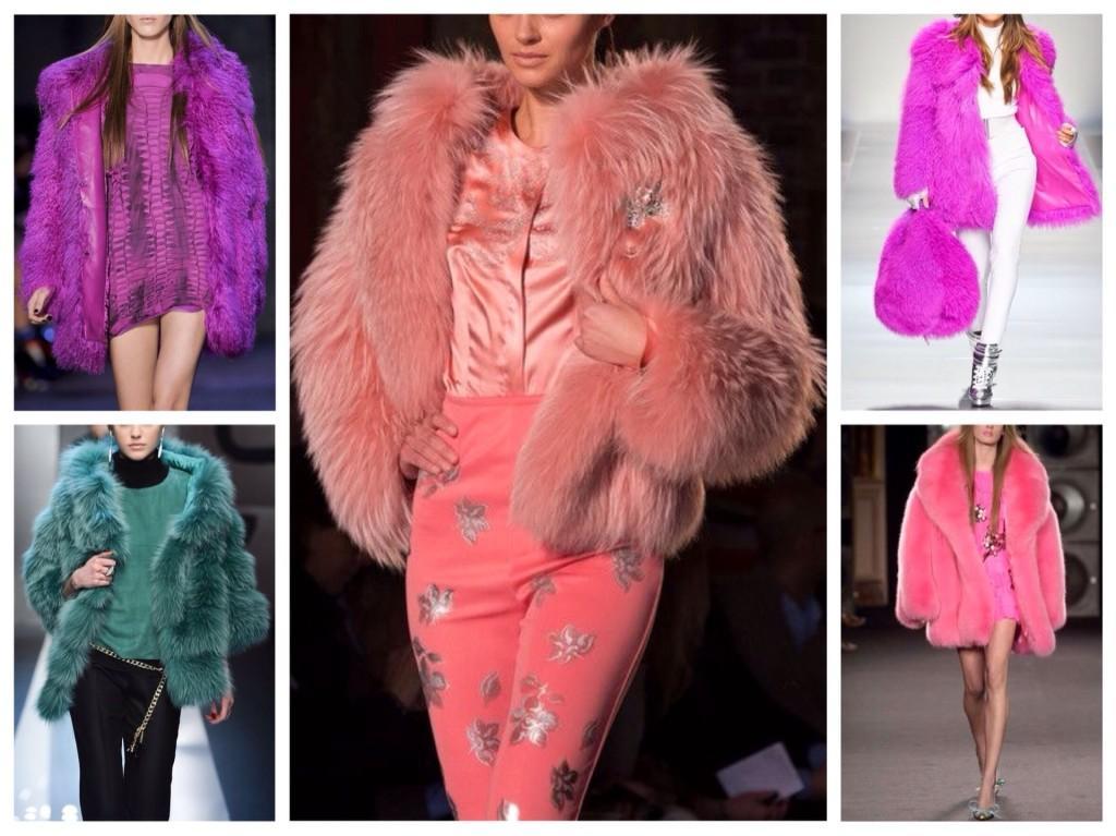 цветные меховые пальто