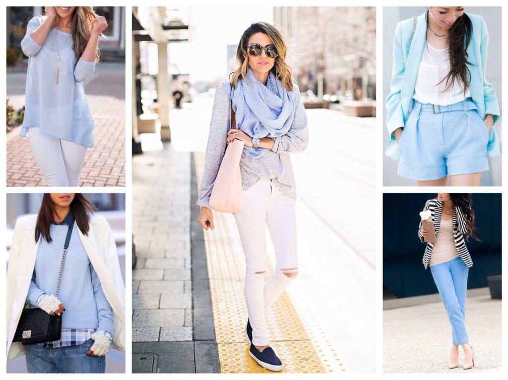 комплектуем голубой цвет в одежде