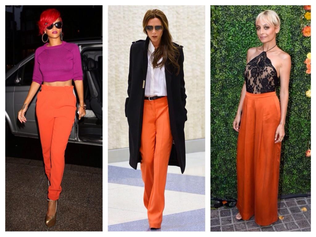 брюки оранжевого цвета