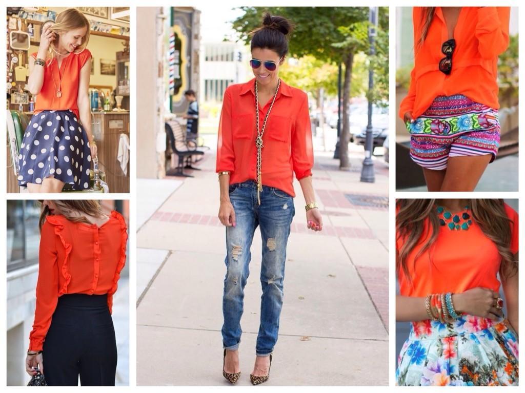 блузки и рубашки оранжевых тонов