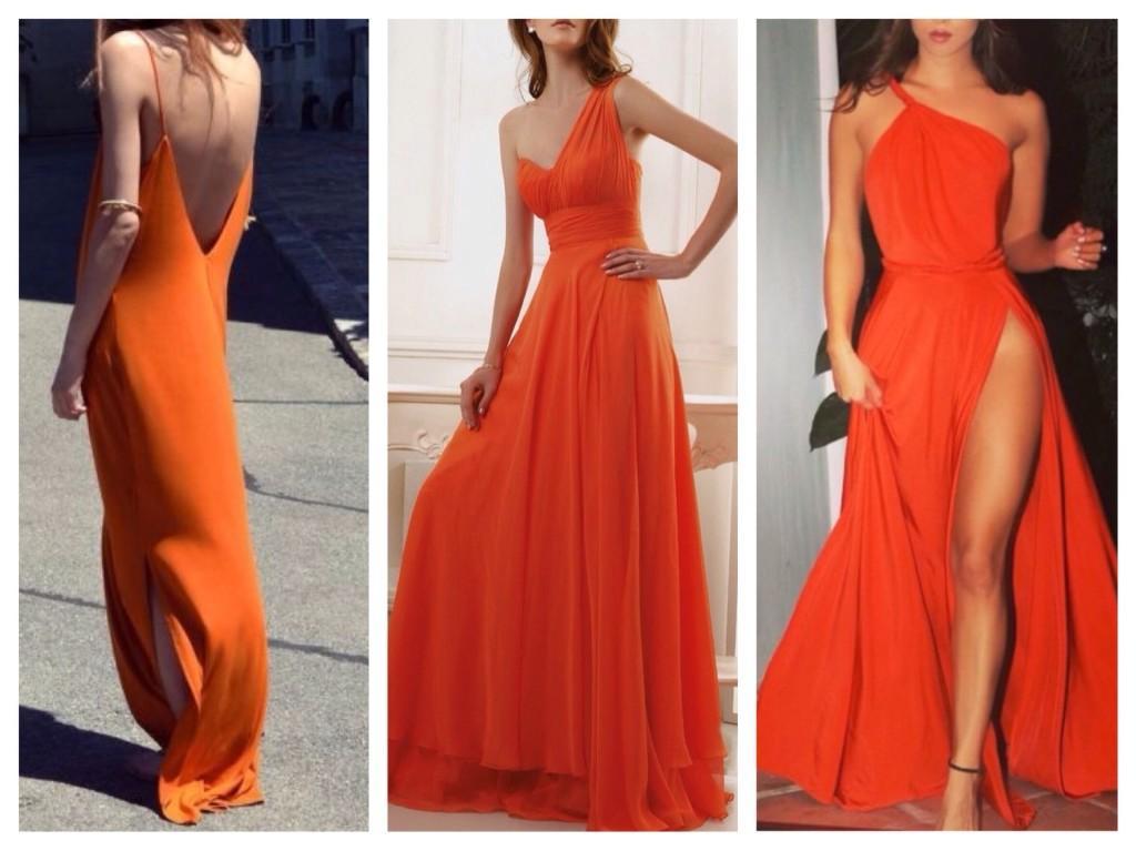 длинные оранжевые платья