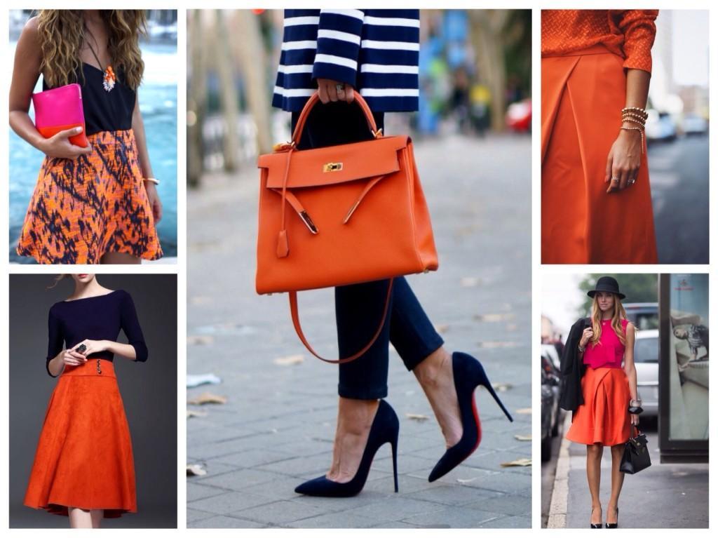оранжевый цвет в одежде и аксессуарах