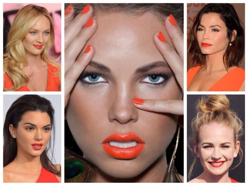макияж для оранжевого платья