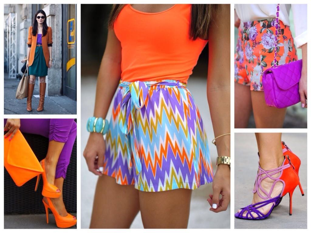 фиолетовый и оранжевый в одежде