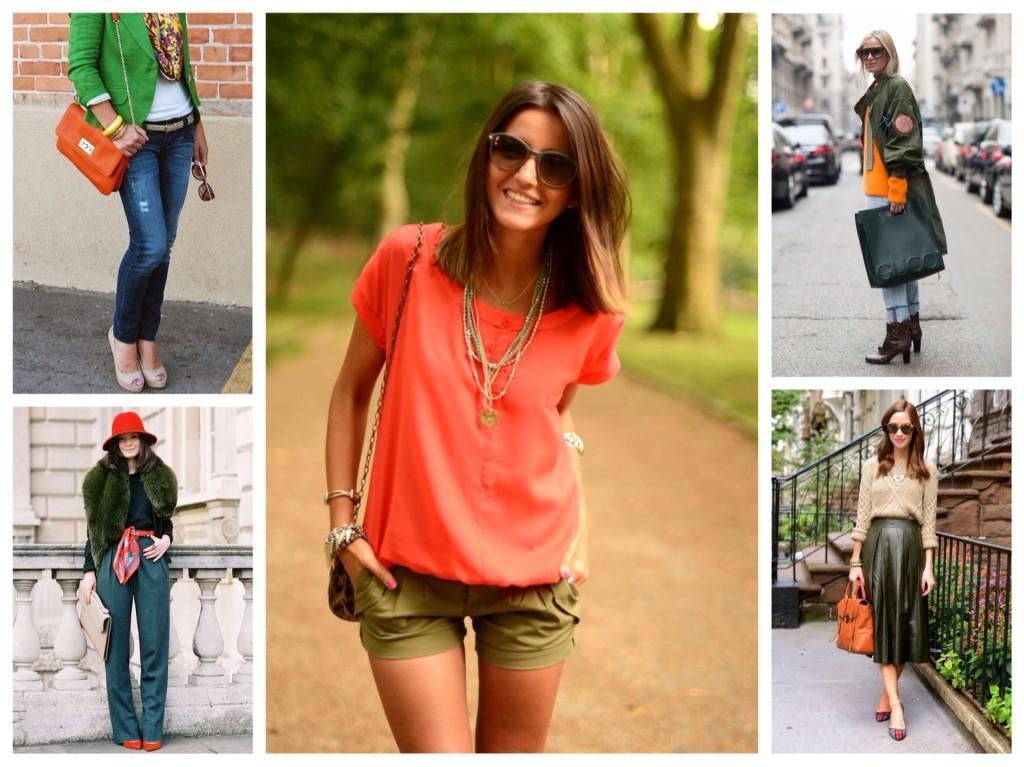 оранжевый и зеленый