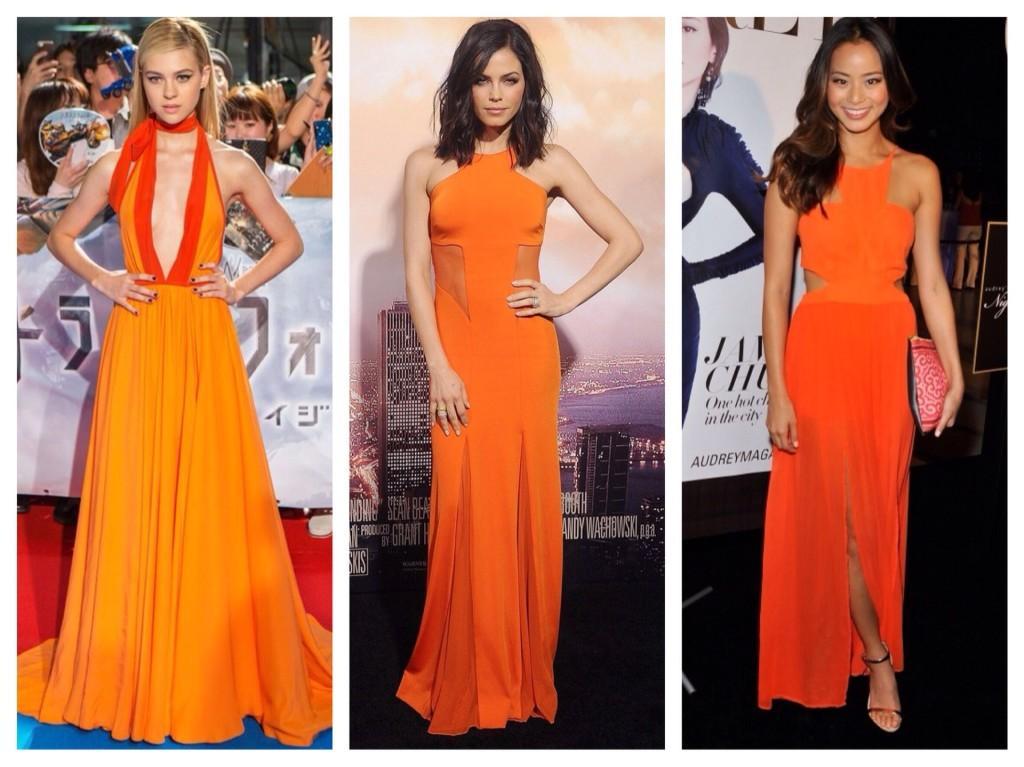 Оранжевые платья в пол
