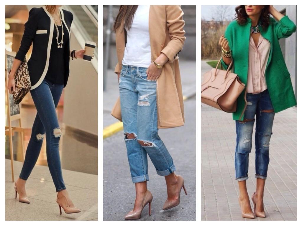 Рваные джинсы и бежевые туфли