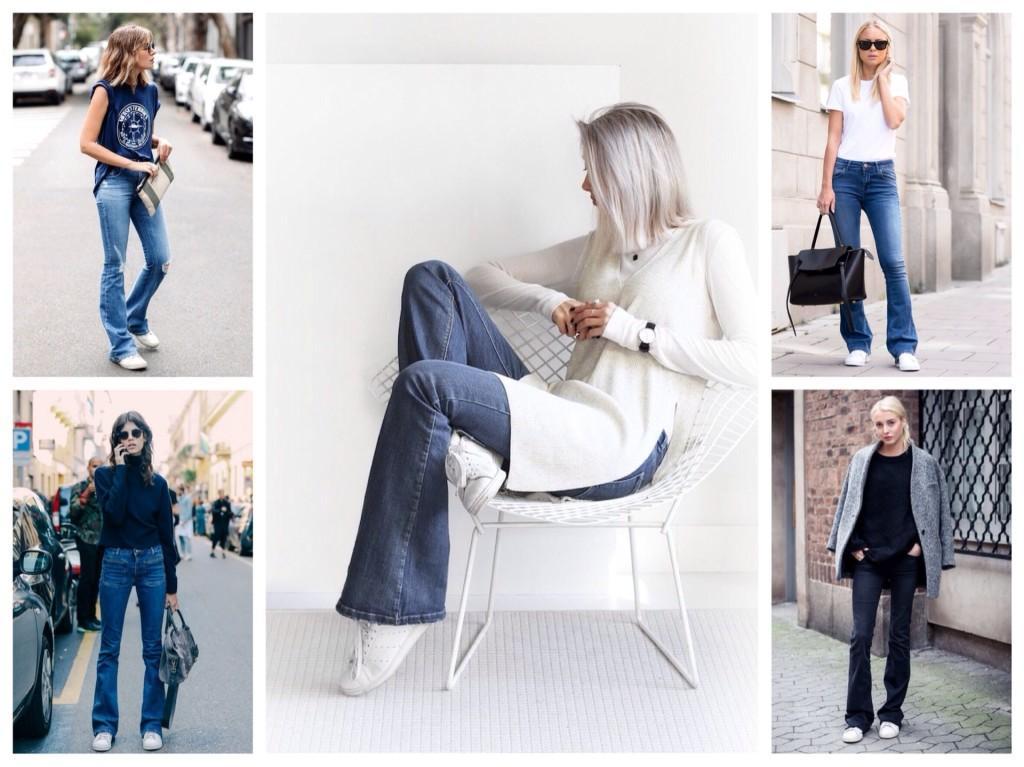 Кроссовки и модели джинсов клеш