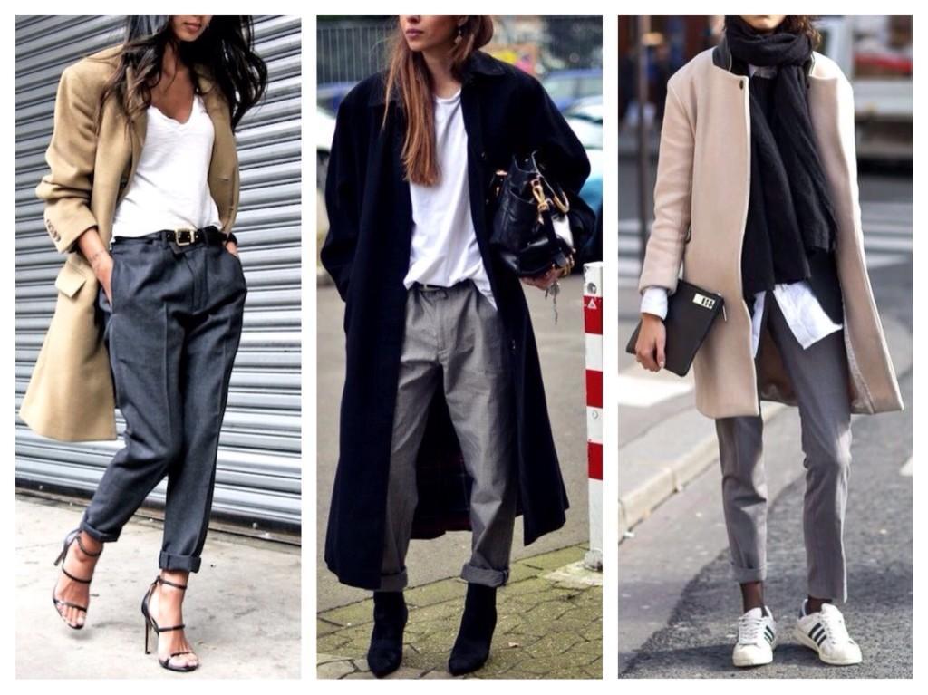 Ансамбли с пальто и серыми брюками