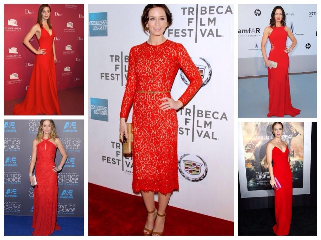 Красные платья Эмили Блант