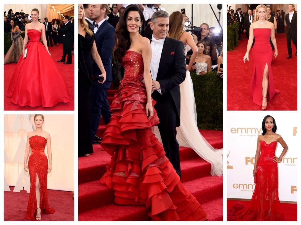 Красные платья с декольте