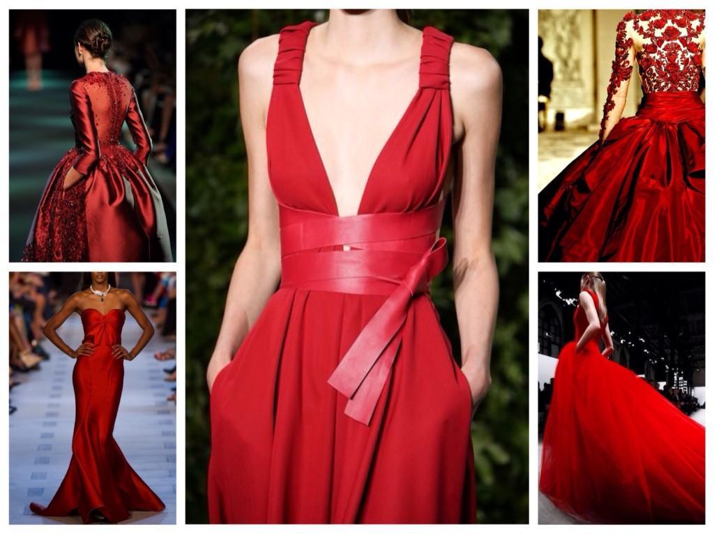 Красные платья с подиумов