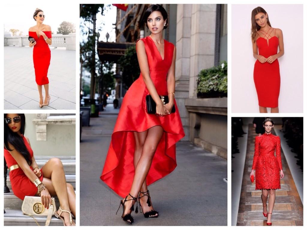 Силуэты красных платьев