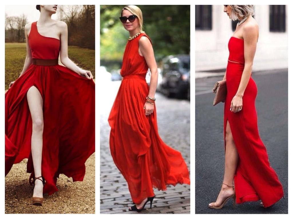 Красное платье в пол