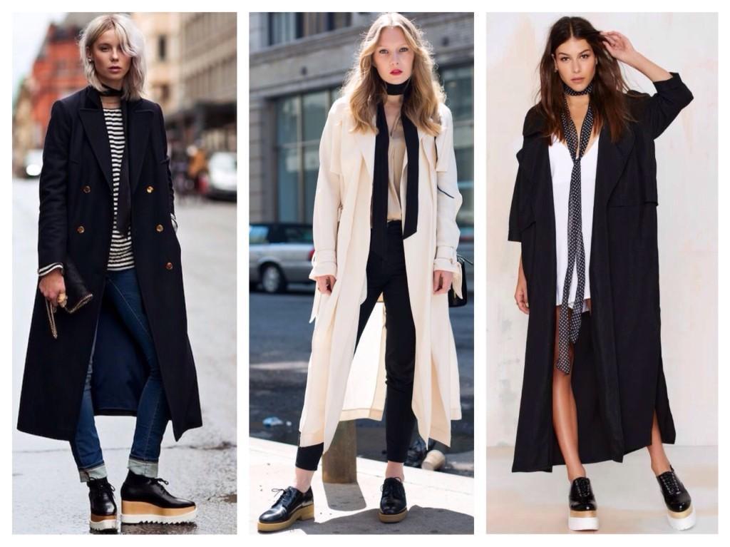 шарф скинни с пальто