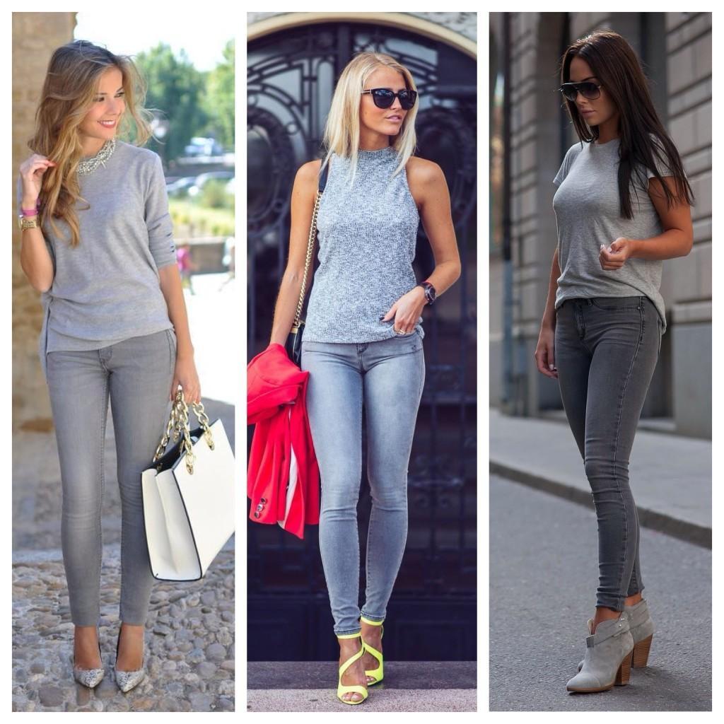 майки с серыми джинсами