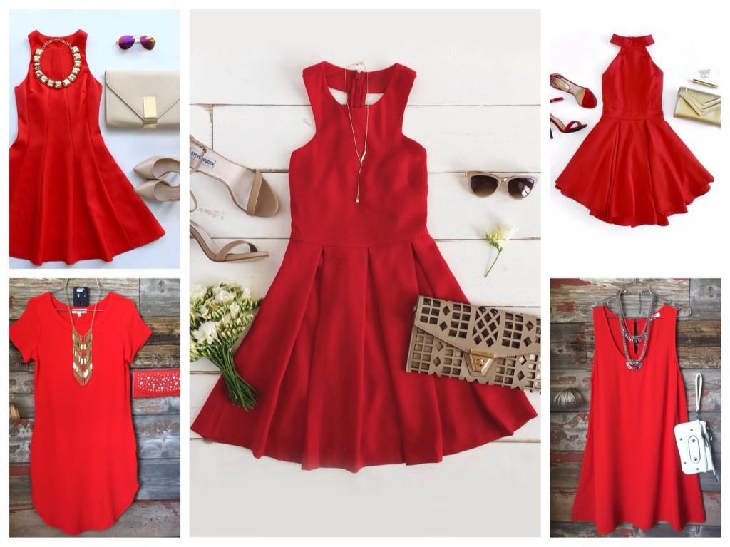 Комплекты с красным платьем