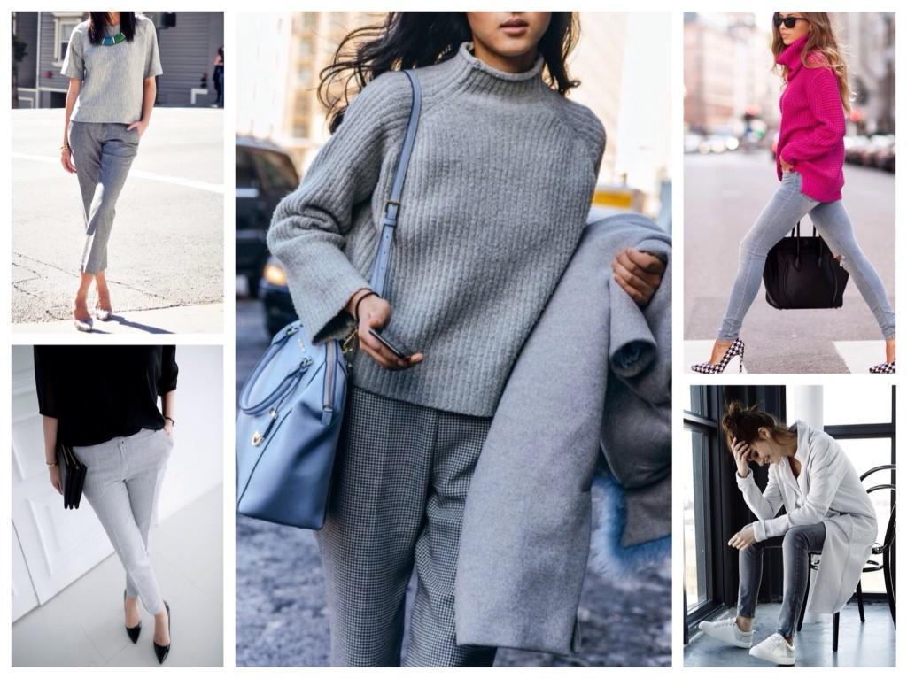 Образы с серыми джинсами и брюками