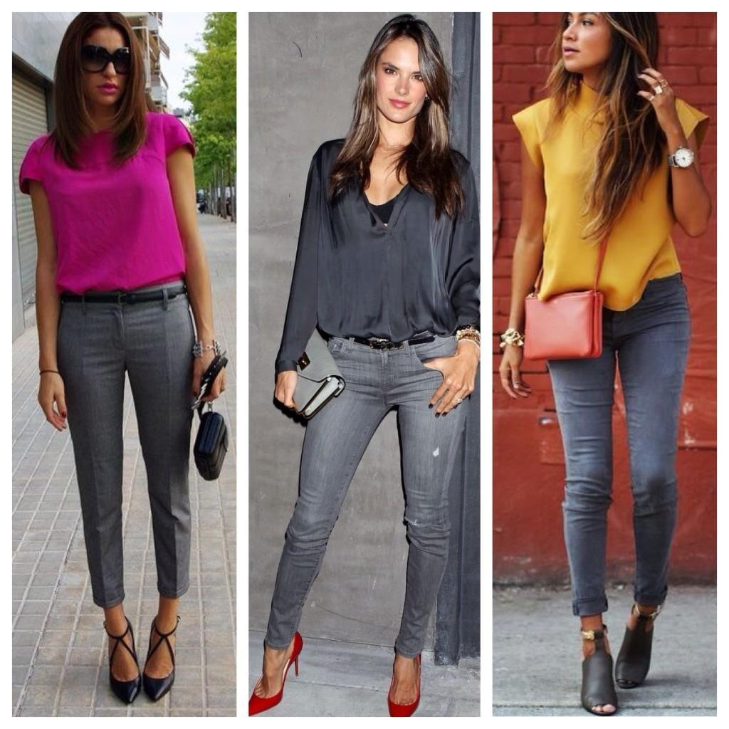 серые джинсы и яркие акценты