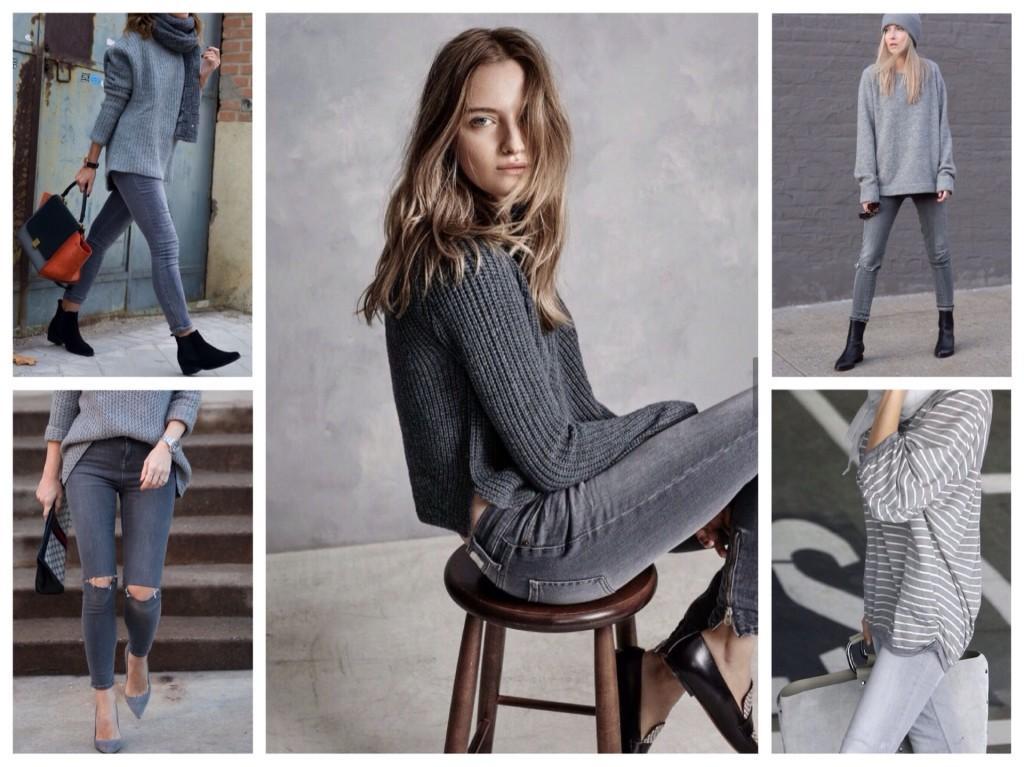 серые джинсы со свитшотами или свитерами