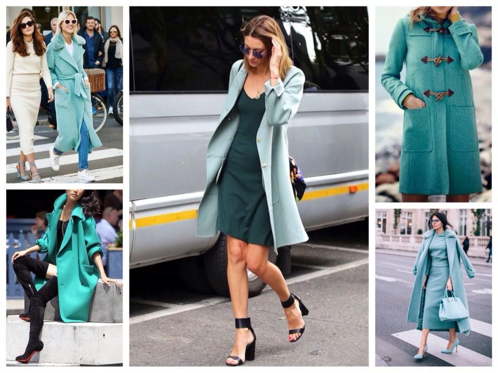 модели бирюзовых пальто