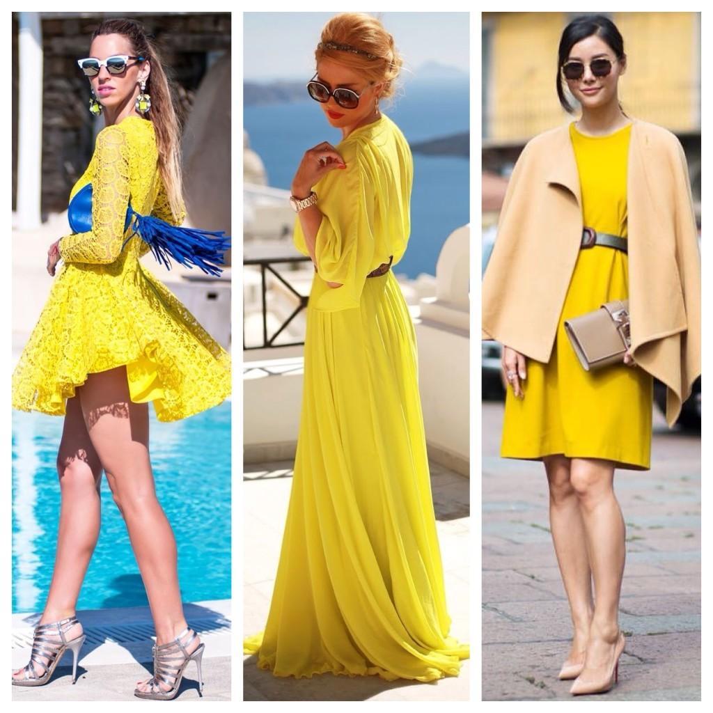 силуэты желтых платьев