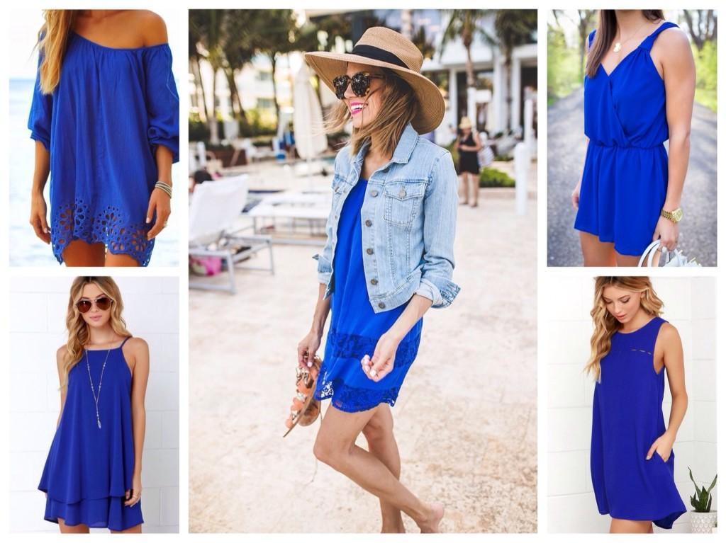 Синее платье для лета