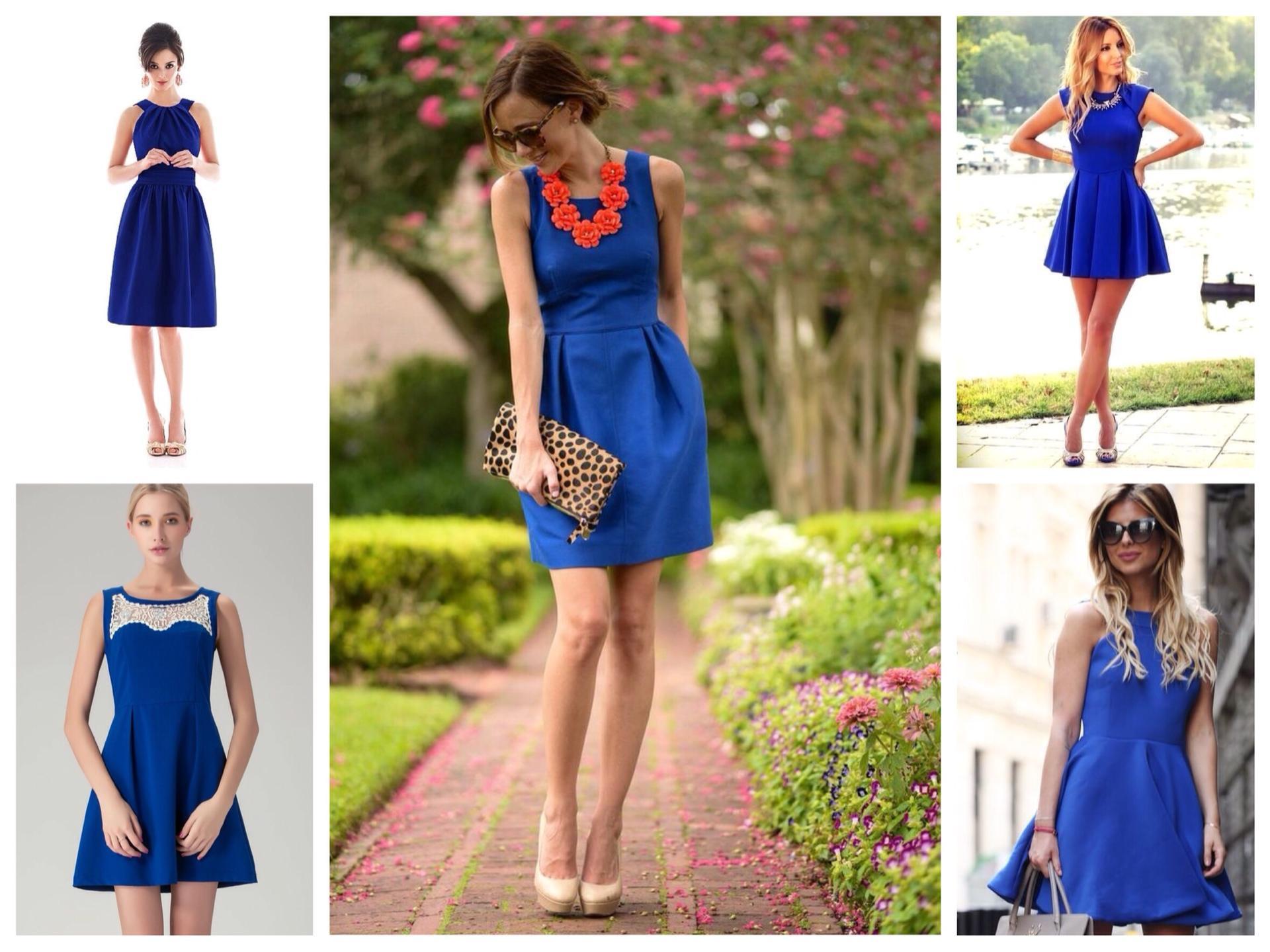 что носить с синим платьем фото попадание
