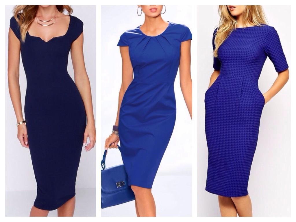 Платья футляр синего цвета