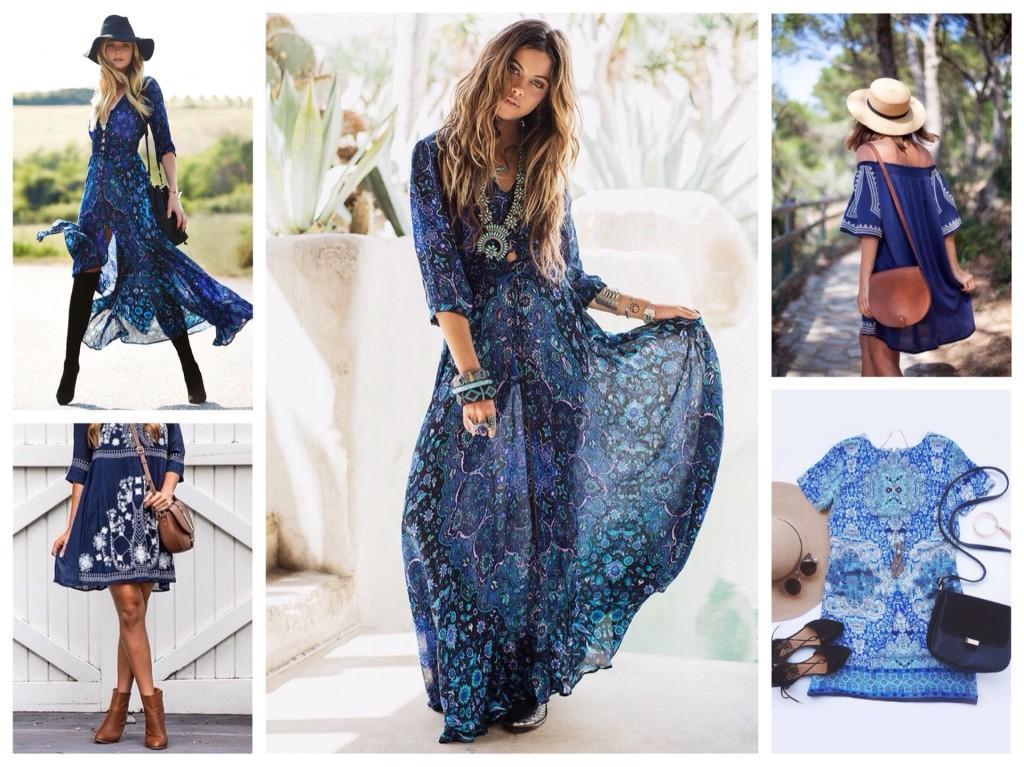синие платья бохо