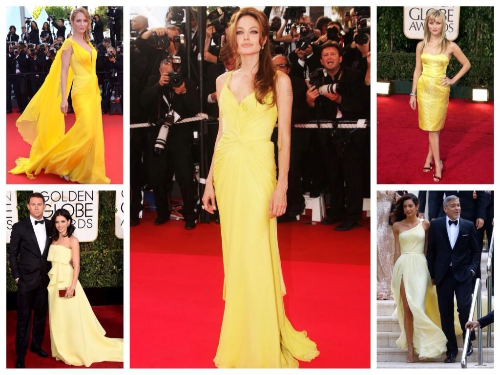 Селебрити в желтых платьях