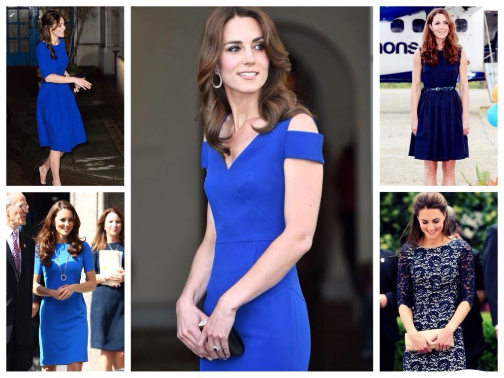 Кейт Миддлтон в синих платьях