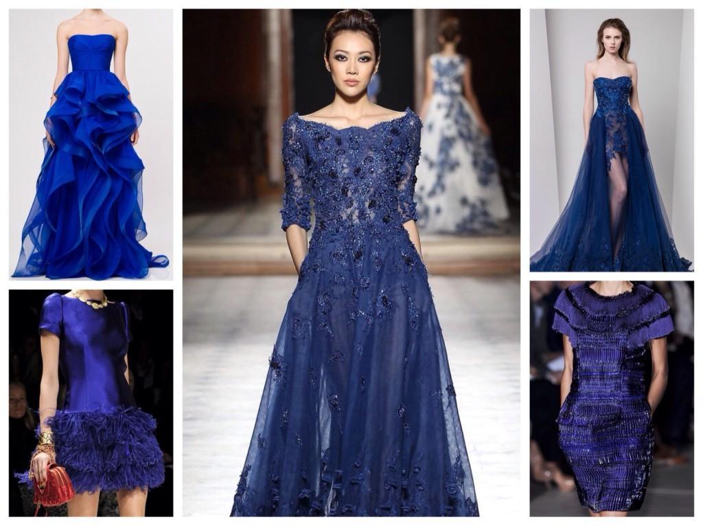 Синие платья с подиумов